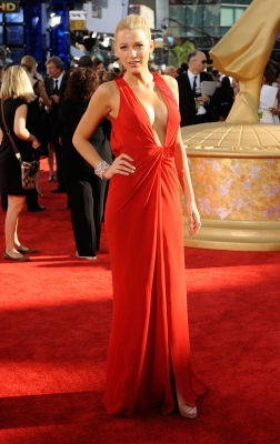 Blake Lively sports a revealing red gown at the 61st Primetime Emmy Awards held at the Nokia Theatre on September 20, 2009 in Los Angeles, California