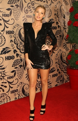 Blake Lively rocks a hot black dress at the HBO's post Emmy Awards reception at the Pacific Design Center on September 20, 2009 in West Hollywood, California