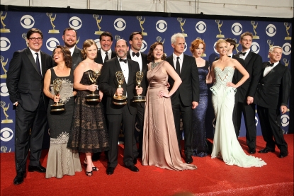 The cast of 'Mad Men,' the winner of Outstanding Drama Series at the 61st Annual Primetime Emmy Awards on September 20, 2009