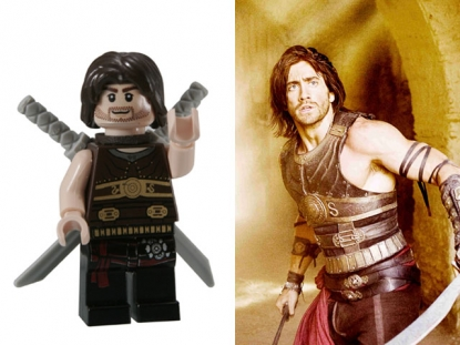 A LEGO Prince Dastan and Jake Gyllenhaal in 'Prince of Persia: The Sands of Time'