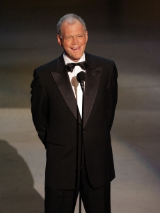 Late Night TV Show Host David Letterman makes a tribute to Johnny Carson onstage at the 57th Annual Emmy Awards held at the Shrine Auditorium on September 18, 2005 in Los Angeles, California