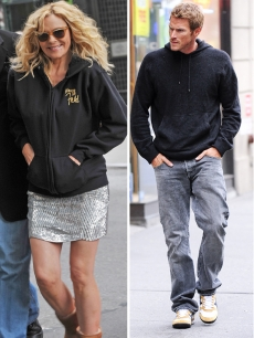 Kim Cattrall and Jason Lewis on the 'Sex and The City 2' set, Oct. 12, 2009