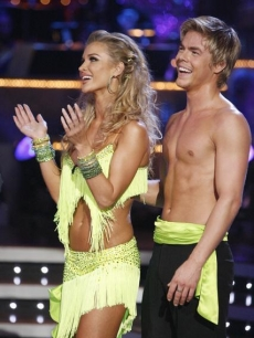 Joanna Krupa and Derek Hough laugh as they receive their scores during Week 4 of 'Dancing'