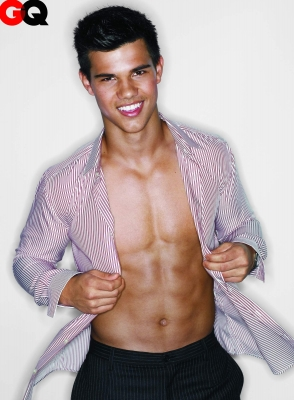 'New Moon's' Taylor Lautner poses with his shirt open in November's GQ Magazine
