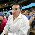 Jon Gosselin catches a Los Angeles Dodgers game on October 2, 2009