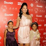 Kimora Lee Simmons is pretty in pink with her daughters Ming Lee Simmons and Aoki Lee Simmons at the Hello Kitty 35th anniversary celebration in Culver City, Calif. on October 22, 2009