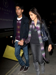 Dev Patel and Freida Pinto are spotted holding hands on October 20, 2009 in London, England
