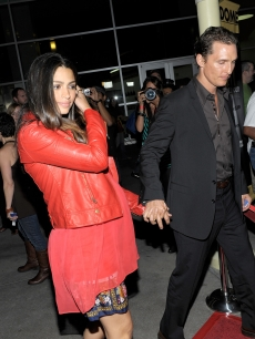 Matthew McConaughey and Camila Alves arrive at The Nobelity Project's 'One Peace At A Time' screening at the ArcLight Theatre on October 21, 2009 in Los Angeles, California