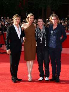 'New Moon' stars Charlie Bewley, Cameron Bright and Jamie Campbell Bower with screenwriter Melissa Rosenberg at the 4th International Rome Film Festival on October 22, 2009