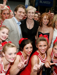 'Glee' stars Matthew Morrison, Jane Lynch, Jayma Mays and Jessalyn Gilsig pose with cheerleaders during The Glee Cheerleaders exclusive performance at Fox's Upfront presentation at New York City Center on May 18, 2009 in New York City