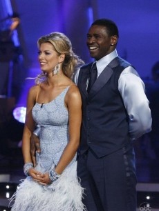 Anna Demidova and Michael Irvin listen as Len raves over their waltz during Week 6 of 'Dancing'
