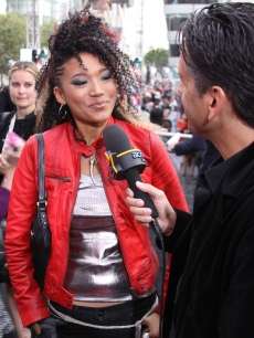 Judith Hill, who sang 'Heal The World' at Michael Jackson's memorial, walks the red carpet at the premiere of 'This Is It' held at the Nokia Theatre in Los Angeles on October 27, 2009