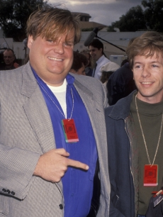 A vintage shot of Chris Farley and David Spade