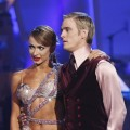 Karina Smirnoff and Aaron Carter wait for the judges comments, Nov. 9, 2009
