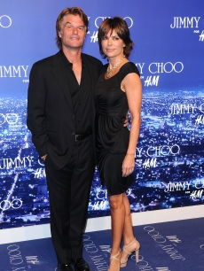 Actor Harry Hamlin & actress Lisa Rinna arrive at the Jimmy Choo for H&M Collection private event in support of the Motion Picture & Television Fund on November 2, 2009 in West Hollywood, California.