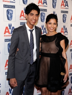 Dev Patel and Freida Pinto arrive at the 8th Annual British Academy Of Film And Television Arts Britannia Awards at the Hyatt Regency Century Plaza Hotel in Los Angeles, California on November 5, 2009