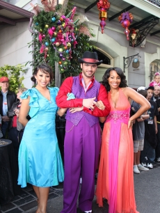 Anika Noni Rose, the voice of Tiana in Walt Disney Pictures' 'The Princess and the Frog,' joins 'Dancing With the Stars' dancers Tony Dovoloni and Cheryl Burke at Disneyland in Anaheim, Calif., on November 8, 2009