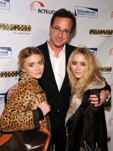 Mary-Kate Olsen, Bob Saget and Ashley Olsen attend 'Cool Comedy Hot Cuisine 2009' hosted by the Scleroderma Research Foundation at Caroline's On Broadway, NYC, November 9, 2009