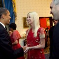 President Obama greets alleged party crashers Michaele and Tareq Salahi at his first state dinner on November 24, 2009