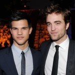 Taylor Lautner and Robert Pattinson arrive at the afterparty for the premiere 'The Twilight Saga: New Moon' at the Hammer Museum on November 16, 2009 in Los Angeles, California