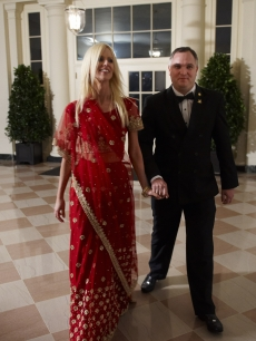 Prospective reality stars Michaele and Tareq Salahi arrive at the White House state dinner in Washington, D.C. on November 24, 2009