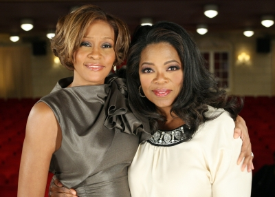 Oprah poses along side Whitney Houston in one of her most recent famous interviews on August 31, 2009