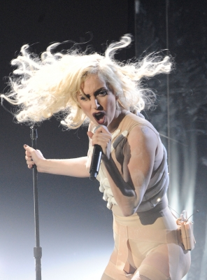 Lady Gaga gets fierce at the 2009 American Music Awards at the Nokia Theatre L.A. Live in LA on November 22, 2009