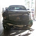 Tiger Woods' damaged Escalade following his crash, photographed in Florida on November 27, 2009