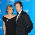 Tea Leoni and David Duchovny look happy together at the 2009 UNICEF Snowflake Ball at Cipriani 42nd Street in NYC on December 2, 2009