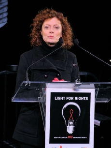 Susan Sarandon speaks during the amfAR World AIDS Day event at Washington Square Park in New York City, on December 1, 2009
