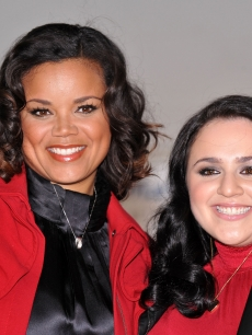 Kimberley Locke and Nikki Blonsky attend the 'Carol-Oke' contest at Bryant Park, NYC, December 3, 2009