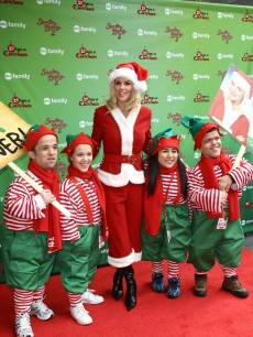 Jenny McCarthy attends the ABC Family's world record elf party to promote 'Santa Baby 2: Christmas Maybe' at Bryant Park, NYC, December 7, 2009