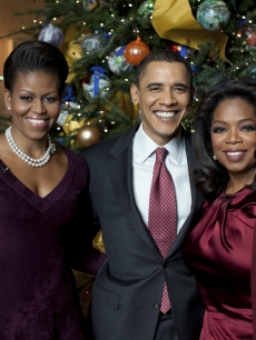 Michelle Obama, President Barack Obama and Oprah Winfrey pose in a promo shot for 'Christmas At The White House,' Dec. 2009