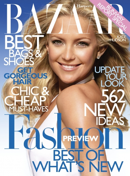 Kate Hudson graces the cover of the January 2010 issue of Harper's Bazaar