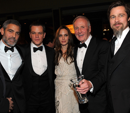 Bruce Willis, George Clooney, Matt Damon, Angelina Jolie, Jerry Weintraub, and Brad Pitt attend the UNICEF Ball held at the Beverly Wilshire Hotel on December 10, 2009 in Beverly Hills, California