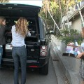 Nicky Hilton and Bijou Phillips bring Casey Johnson's materials to Nicky's car alongside Tila Tequila in Studio City on January 6, 2010