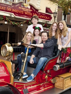 Michael J. Fox, Tracy Pollan and their children get in the holiday spirit at Disneyland in Anaheim on December 21, 2009