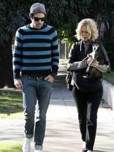 Zachary Quinto and Sarah Paulson step out with a dog, Los Angeles, Dec. 23, 2009