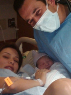 Helio Castroneves, girlfriend Adriana Henao and baby Mikaella, Dec. 29, 2009