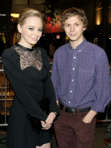 Portia Doubleday and 'Youth In Revolt' co-star Michael Cera at the 2009 AFI Fest in LA on November 3, 2009