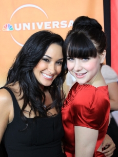 AccessHollywood.com's Laura Saltman and 'Caprica' star Alessandra Torresani at NBC TCA's party, Pasadena, Jan. 10, 2010