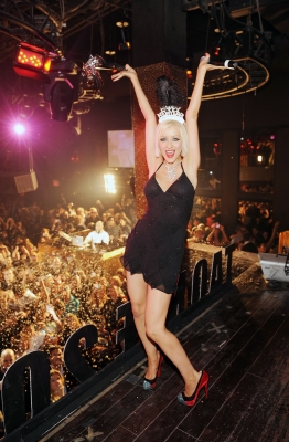 Christina Aguilera parties it up inside TAO/Lavo's New Year's Eve bash at the Venetian in Las Vegas on December 31, 2009