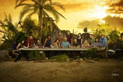 The cast of &#8216;Lost&#8217; in a &#8216;Last Supper&#8217; style pose, 2010