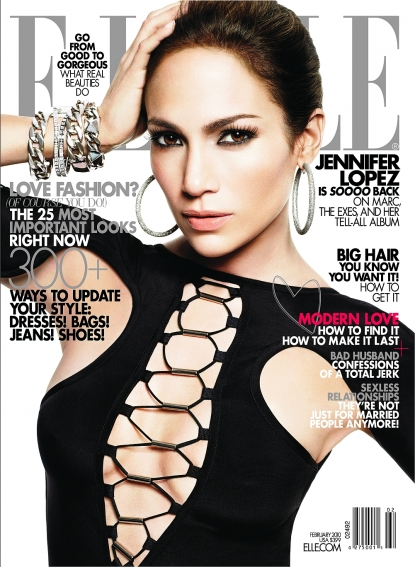 Jennifer Lopez on the cover of ELLE magazine's February 2010 issue
