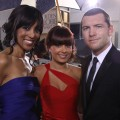 Access' Shaun Robinson spotted with Natalie Mark and 'Avatar' star Sam Worthington on the red carpet at 67th annual Golden Globe Awards on January 17, 2010 in Beverly Hills, California