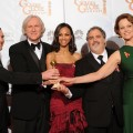 &#8216;Avatar&#8217; family Sam Worthington, director James Cameron, Zoe Saldana, producer Jon Landau and Sigourney Weaver with the award for Best Motion Picture, Drama, at the 67th Annual Golden Globe Awards
