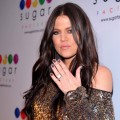 Khloe Kardashian flashes her wedding ring at the launch of Mel B's Sugar Factory Couture Lollipop at Guys and Dolls Lounge on January 19, 2010 in Los Angeles, California