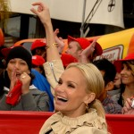 Kristin Chenoweth waves to the crowds during the Oscar Mayer Good Mood Mission event at The Grove, Los Angeles, January 19, 2010