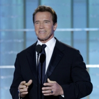 California Governor Arnold Schwarzenegger presents an award on stage at the Golden Globes, Beverly Hills, Jan. 17, 2010