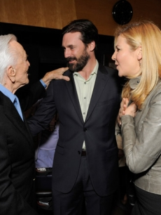 "Jon Hamm and wife Jennifer Westfeldt with Kirk Douglas at the Motion Picture & Television Fund's LA premiere of ""Before I Forget"""